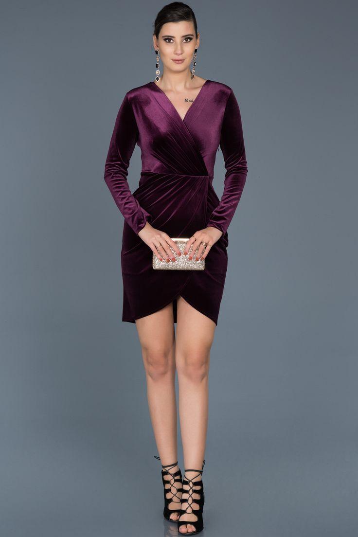 Mor V Yaka Kadife Davet Elbisesi Abk320 The Dress Mini Elbise Kisa Elbiseler