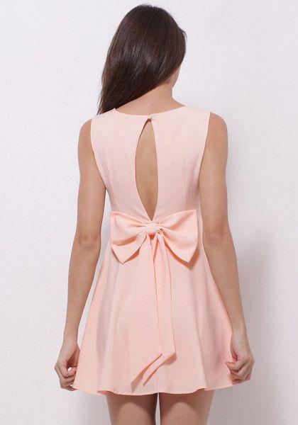 Baby Pink Skater Dress - Cute Ribbon At Back