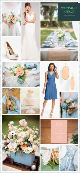 Our latest wedding look is inspired by an updated country affair, filled with shades of peach and dusty blues. Pretty shades of peach with touches of lace make for a soft look that evokes spring, while the dusty blues add a bit of elegant contrast (no honky-tonk here!) The addition of some woodsy neutrals gives it a rustic feel, perfect for an outdoor spring/summer celebration! For more elegant blue + peach wedding ideas, check out REVEL By Request: French Blue + Gold and Peach + Blue…