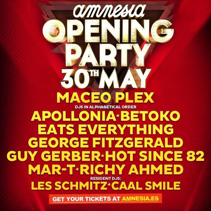 Confirmed line-up for @amnesiaibiza opening party with Maceo Plex, Apollonia, Eats Everything, Guy Gerber, Hot Since 82 and many more! #ibiza