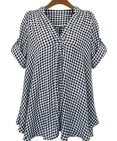 Casual Stand-Up Collar Short Sleeve Plaid Loose-Fitting Blouse For Women