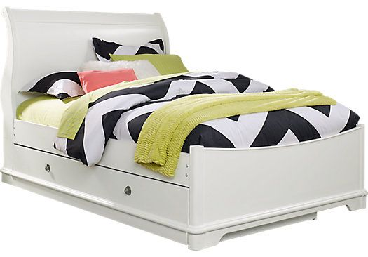 picture of Oberon White 4 Pc Twin Sleigh Bed with Trundle from Trundle Beds Furniture