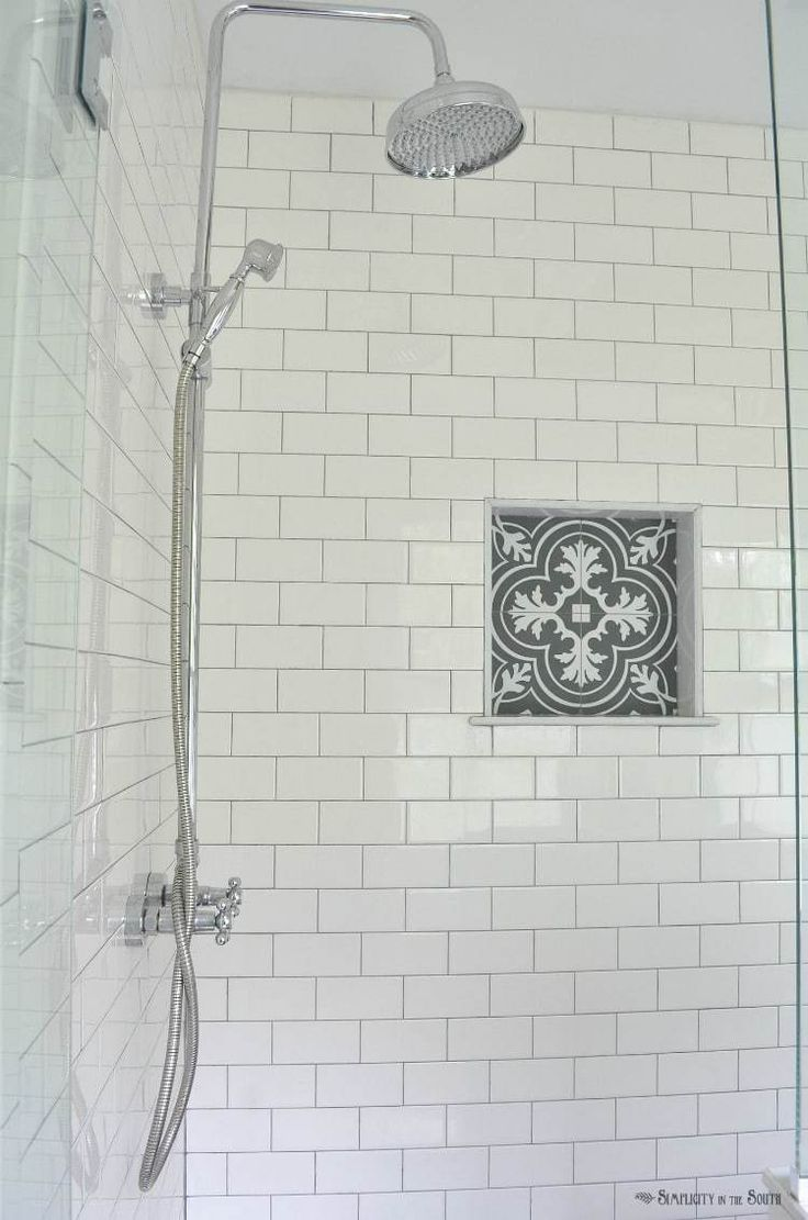 69 best handmade subway tile images on pinterest bath remodel white subway tile is a classic i love the charcoal gray grout and the patterned dailygadgetfo Images
