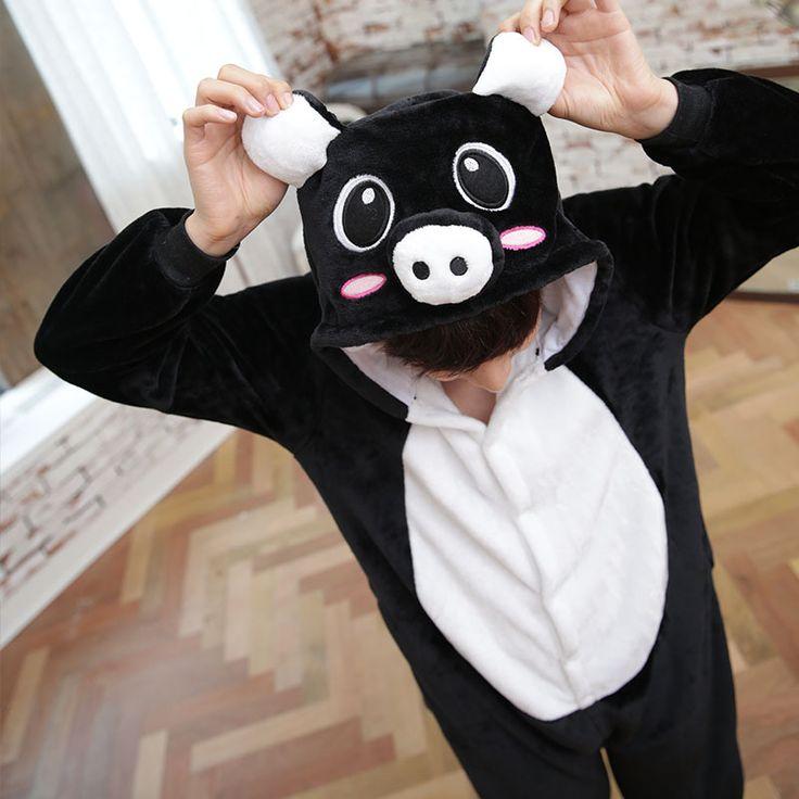 Flannel family animal pajamas one piece onsies onesies cosplay black pig cerdo pigiama pyjama pijamas enteros de animales