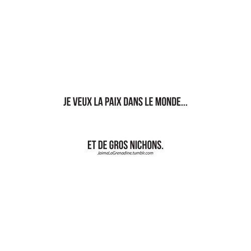 Je veux la paix dans le monde… Et de gros nichons. - #JaimeLaGrenadine FacebookPage >>> https://www.facebook.com/ilovegrenadine