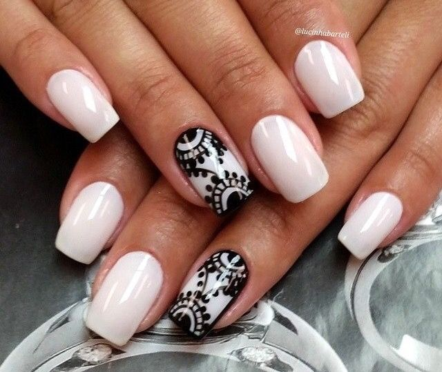 Light pink nail color & black lace nail design