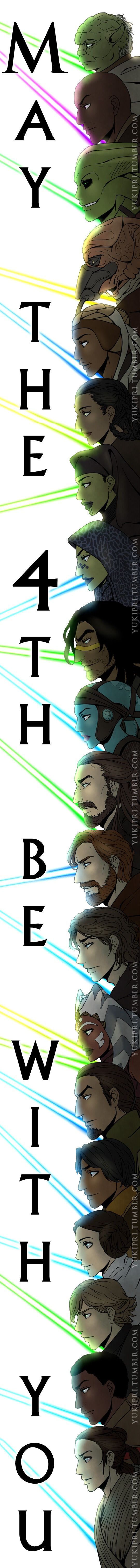 May the 4th be with you! Or in other words, HAPPY STAR WARS DAY!!!Tried to get in as many of my Jedi/Light Side Force sensitive favs as I could. From top to bottom: (Prequels/Clone Wars) Yoda, Mace Windu, Kit Fisto, Plo Koon, Adi Gallia, Depa Billaba, Luminara Unduli, Barriss Offee, Quinlan Vos, Aayla Secura, Qui-Gon Jinn, Obi-Wan Kenobi, Anakin Skywalker, Ahsoka Tano, (Rebels) Kanan Jarrus, Ezra Bridger, (Original Trilogy) Leia Organa, Luke Skywalker, (TFA) Finn, and Rey.