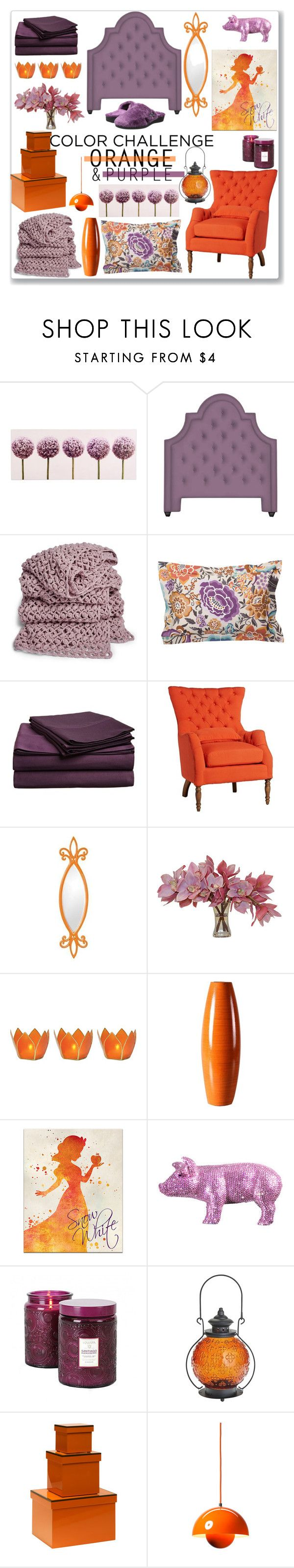 """Orange and Purple Bedroom"" by kimzarad1 ❤ liked on Polyvore featuring interior, interiors, interior design, home, home decor, interior decorating, Graham & Brown, Jonathan Adler, Missoni Home and Impressions"