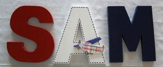 Handmade Custom Wooden Wall Letters Nursery baby boy airplain PBK Madras Nursery Bedding