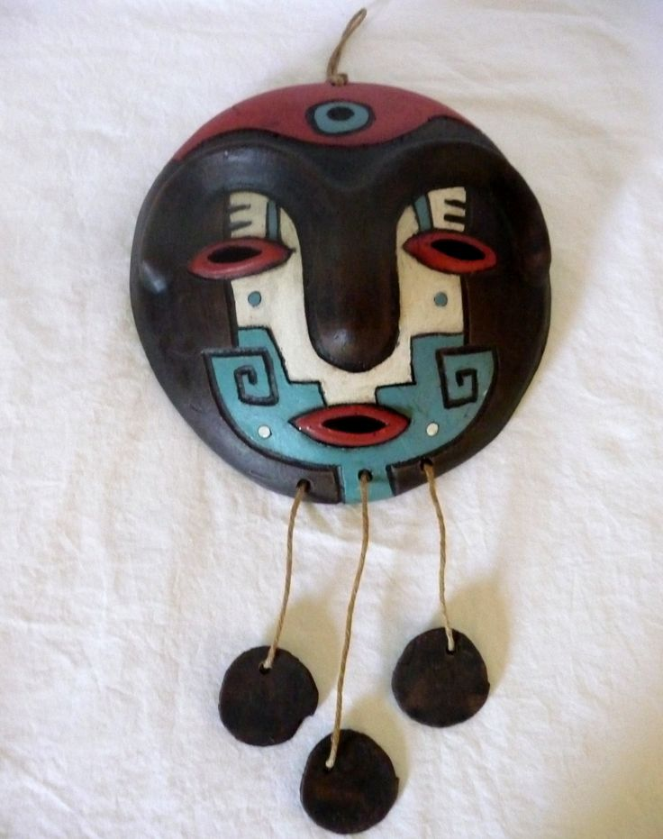 "Clay Pottery Handcrafted Tribal Mask/Wind Chime Signed Toqui Mapuche 9"" X 15"""