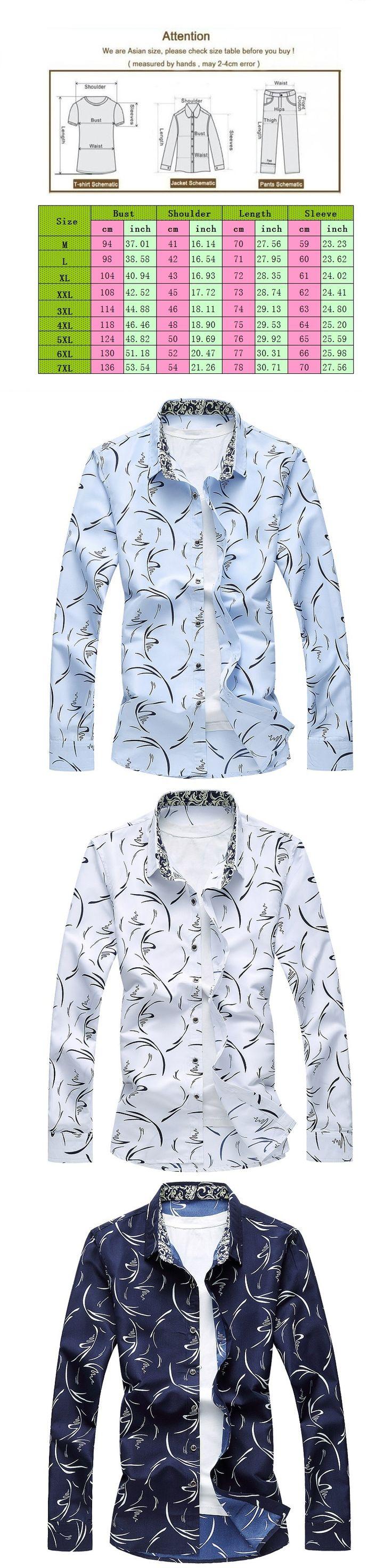 Men Floral Shirts 7XL Long Sleeve Mens Fancy Shirts Brand Clothing Party Wear Shirts For Men Hawaiian Shirt Camisa Masculina