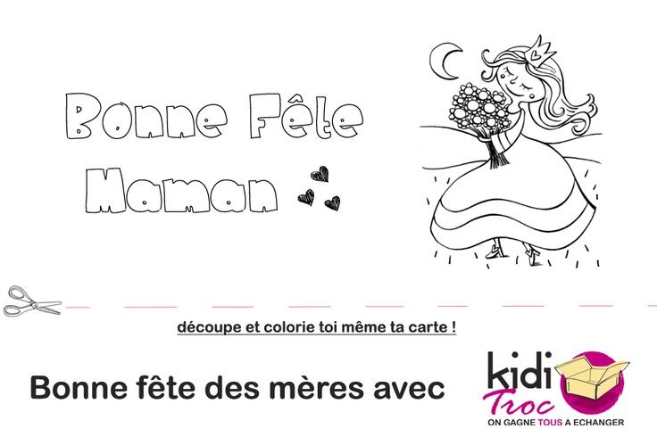 KidiTroc vous propose de télécharger cette petite carte à imprimer et à faire colorier à vos enfants pour la fête des mères ! KidiTroc.com
