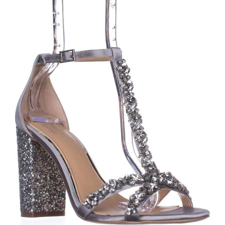 BADGLEY MISCHKA Womens Geranium Leather Open Toe Special Silver Size 7.5 LUUZ