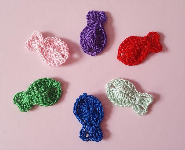 Lot de 6 appliques poissons multicolores au crochet : Autres pièces pour créations par atelier-crochet