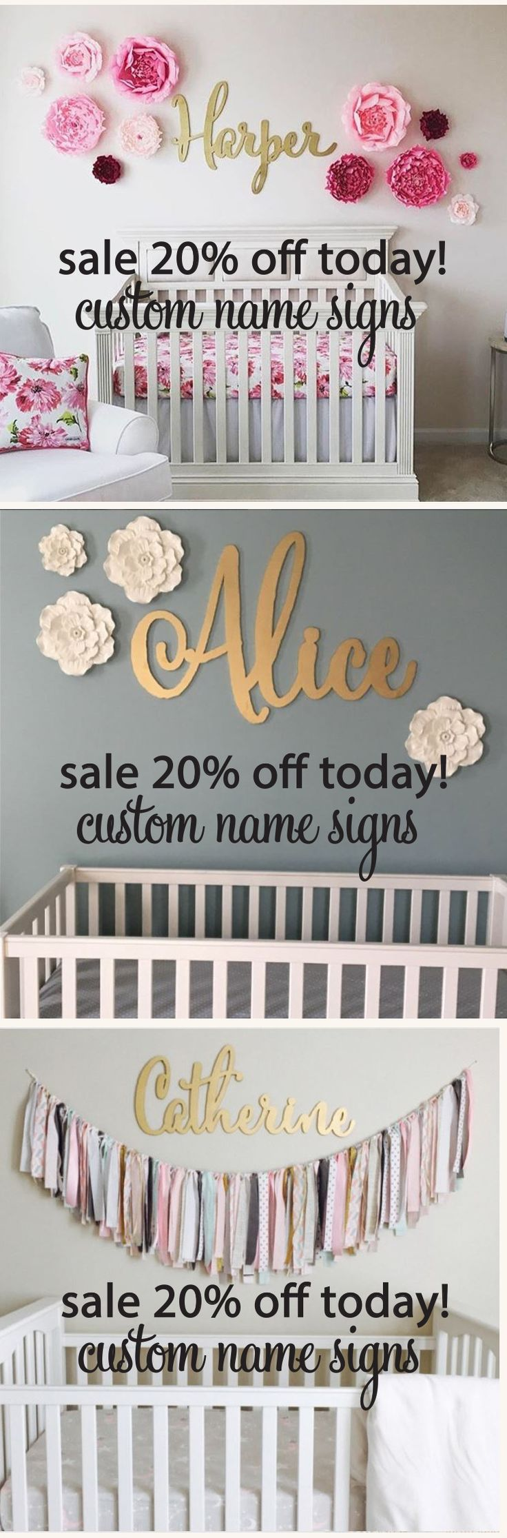 What a great idea to decorate above a crib for a new baby room! A custom laser cut name sign will add an extra special touch to your nursery decor.