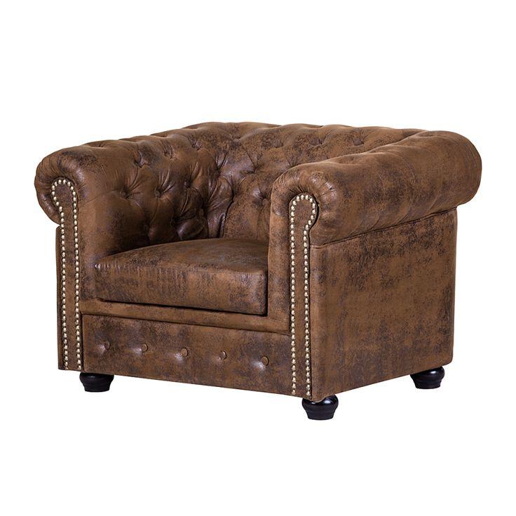 Fauteuil Torquay - Aspect vieux cuir marron