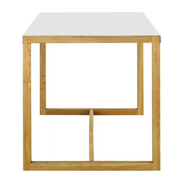 Mesa rectangular de metal y roble macizo