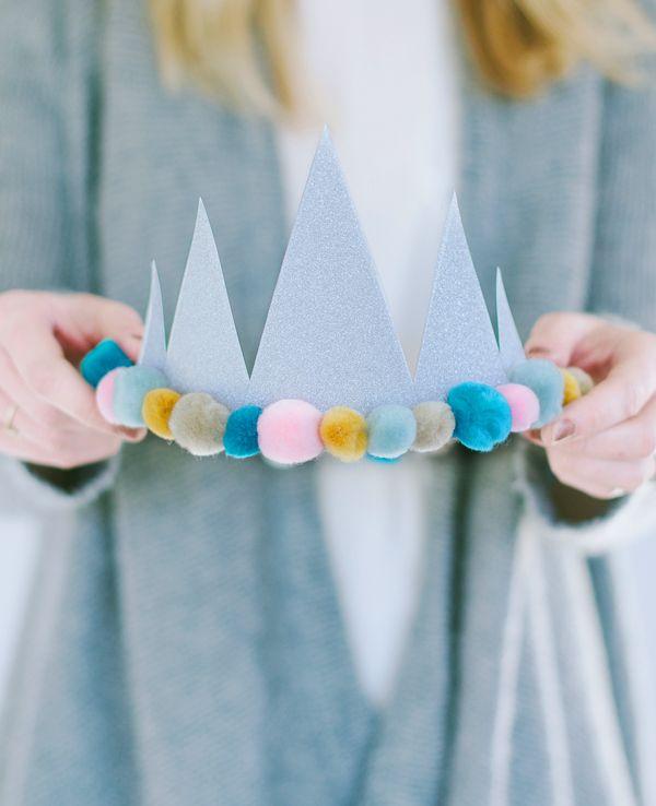 Glitter felt ball birthday crowns asubtlerevelry.com
