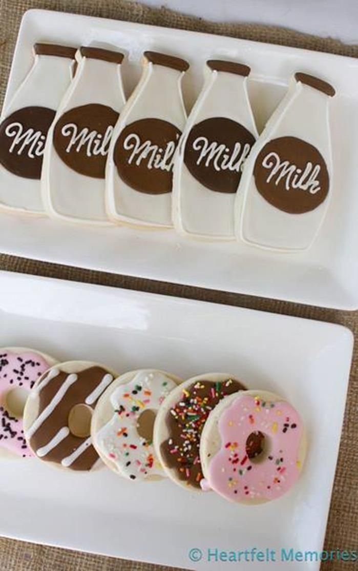 Milk & Doughnuts Party: LOVE these milk bottle + doughnut-shaped sugar cookies