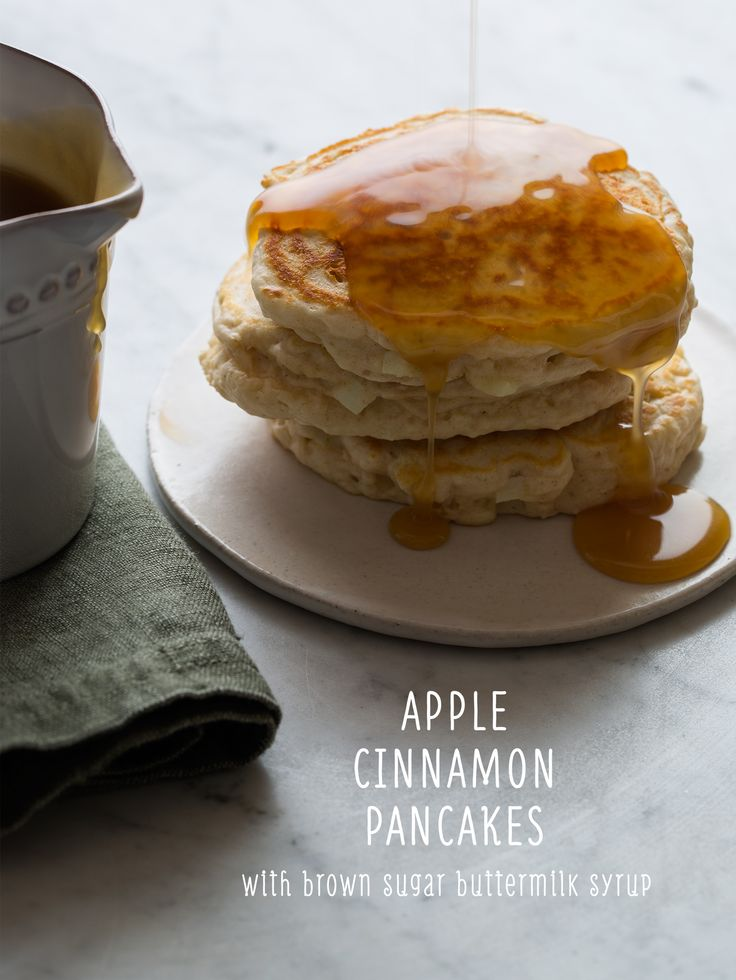 Apple Cinnamon Pancakes w/Brown Sugar Buttermilk Syrup // these were a big hit (subbed in some whole wheat flour)