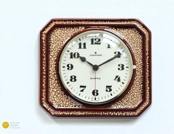 coole wohnzimmer uhren:70s JUNGHANS Ceramic Wall CLOCK – Mid Century Panton Modern Atomic