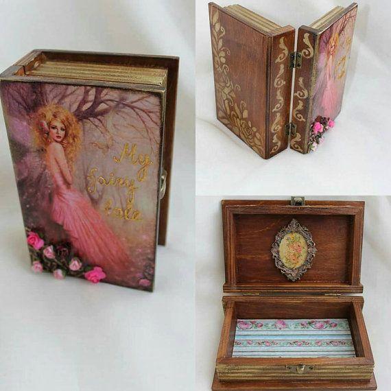 Wooden jewellery box book little girl jewelry by BellesAmiesDecor