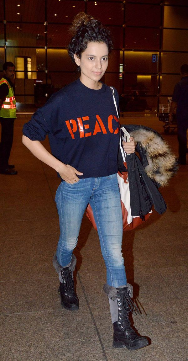 Kangana Ranaut spotted at the Mumbai airport. #Bollywood #Fashion #Style #Beauty