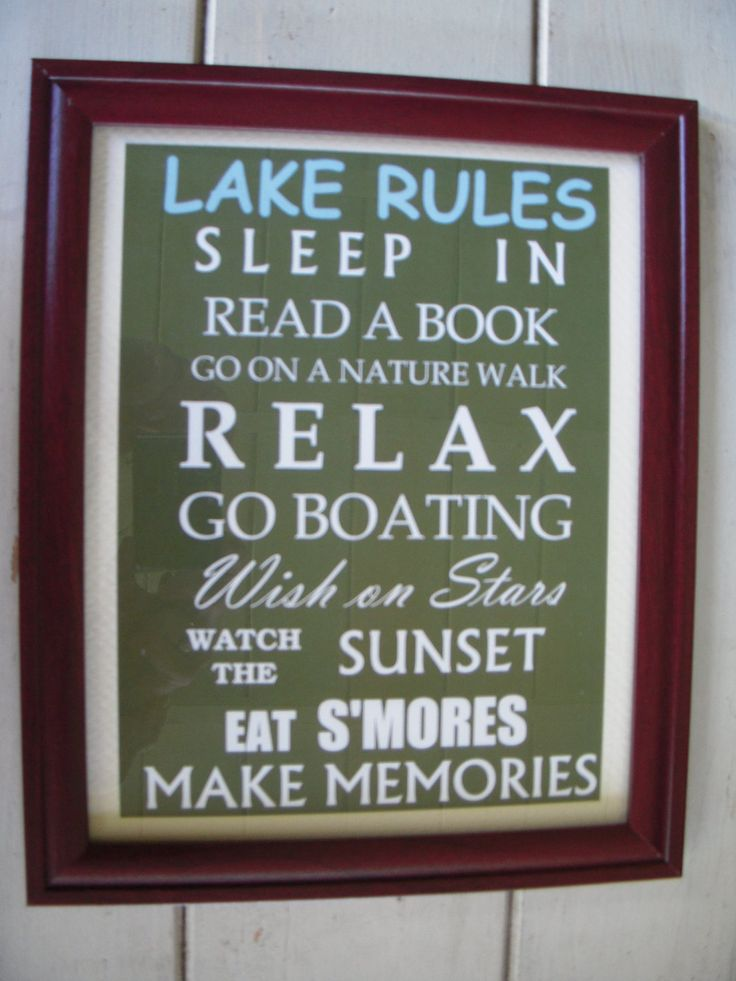 Lake Rules Framed Sign by FollowingFriends on Etsy