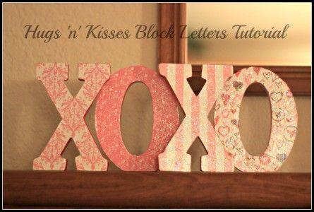 Valentines Day Craft- Hugs n Kisses Block Letters Tutorial @Stacie Bass