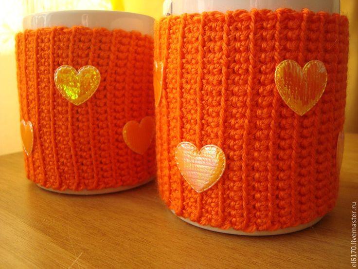 Купить Вязаный чехол- грелка на кружку/чашку Любимый - оранжевый, чехол грелка на чашку