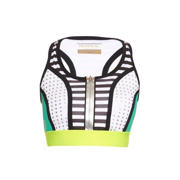 Monreal London Racer-back performance sports bra (1.050 VEF) ❤ liked on Polyvore featuring activewear, sports bras, multi, racerback sports bra, green sports bra, polka dot sports bra, yellow sports bra and racer back sports bra