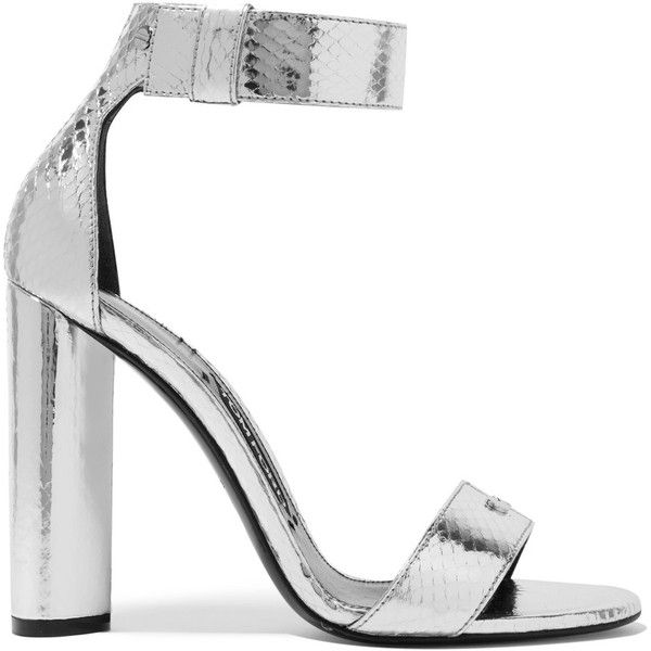 TOM FORD Metallic ayers sandals (152280 DZD) ❤ liked on Polyvore featuring shoes, sandals, heels, silver, silver high heel shoes, metallic sandals, strap heel sandals, strappy heeled sandals and strappy sandals