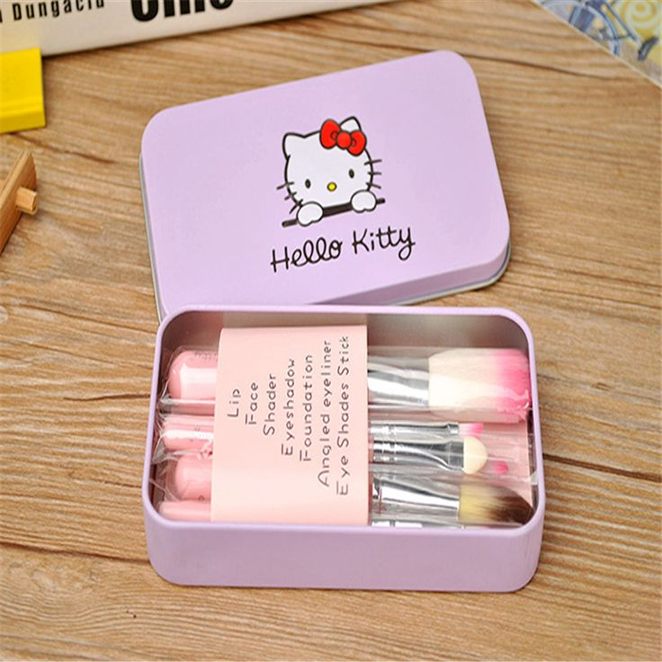 Hot Pro Brochas Hello Kitty Maquillaje Makeup Brushes 7PCS Set Kit Iron Professional Facial Brushes Metal Box Pink Cosmetic Gift #Affiliate