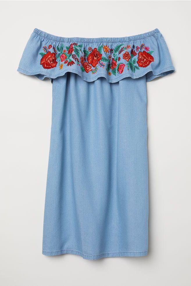 e14ef1f48777 Off-the-shoulder Dress - Denim blue flowers - Ladies