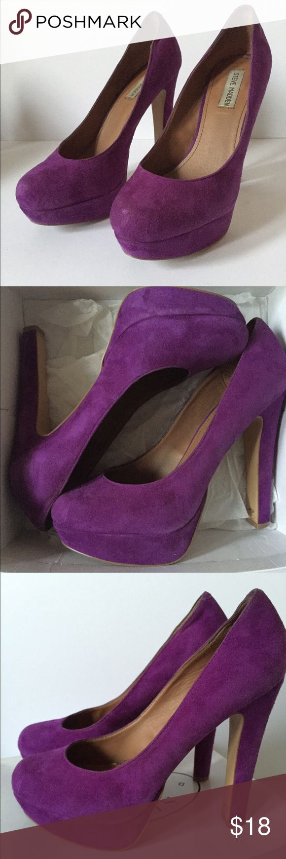 """Steve Madden Pumps: Beasst, Purple Suede Purple suede pumps from Steve Madden. 5.5"""" heel with platform and rounded toe. Super comfortable! They have been worn, but are still in good condition. Come with box. Steve Madden Shoes Heels"""