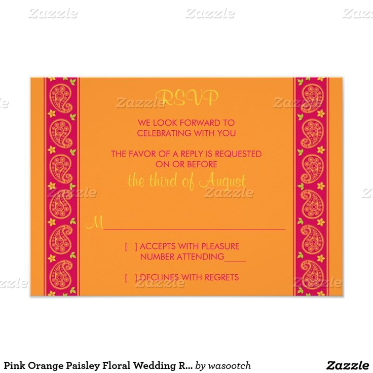 Pink Orange Paisley Floral Wedding Reply Card