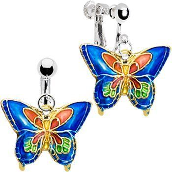 Handcrafted Blue Cloisonne Butterfly Clip Earrings Body Candy. $11.99