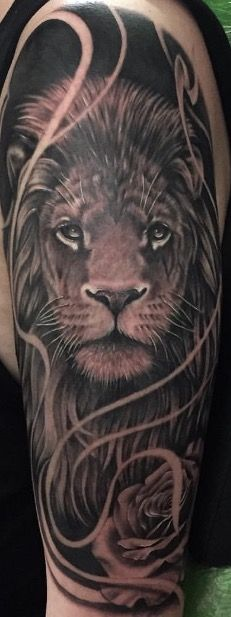 Lion & Rose half sleeve done by Diego Lugo Acid Ink Bogota Colombia