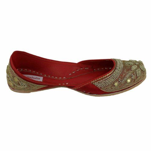 Step n Style mujeres Khussa jooti Boho hecha a mano zapatos Indian Maharani mojari Slip On, color Multicolor, talla 35