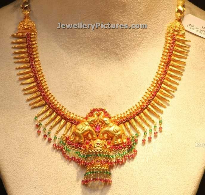 elephant design south indian gold necklace