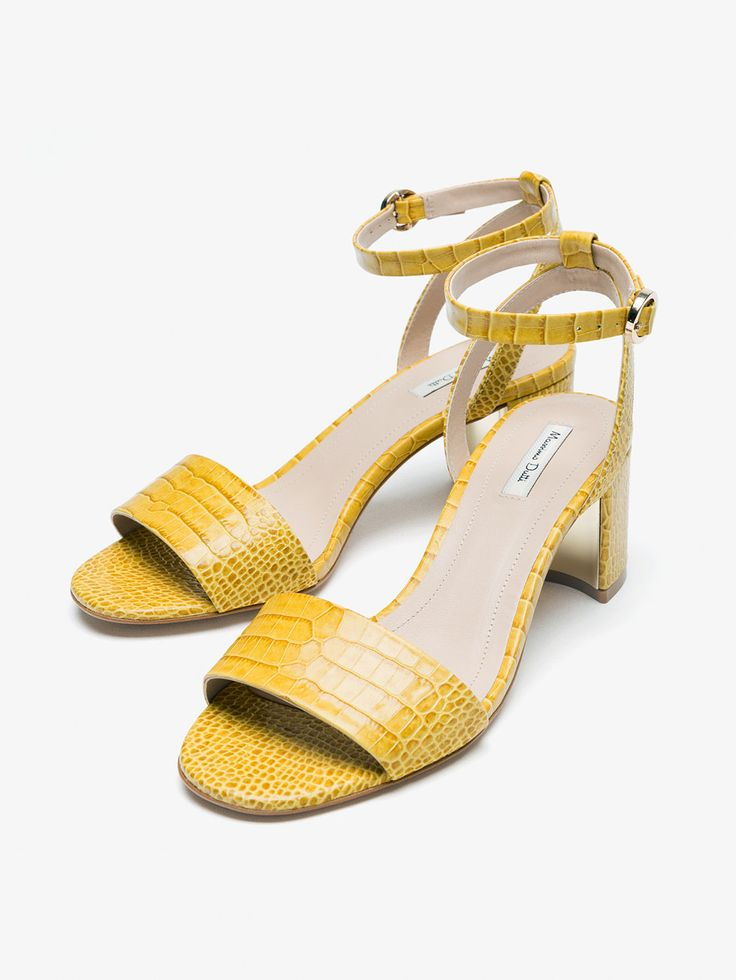 Autumn Spring summer 2017 Women´s YELLOW MOCK CROC LEATHER SANDALS at Massimo Dutti for 140. Effortless elegance!