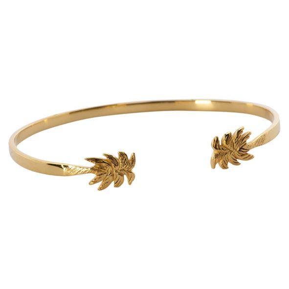 Palm tree cuff gold plated   ANNA+NINA #palmtree #cuff #annaninanl You can find it here:  http://www.anna-nina.nl/shop-online/jewellery/palmtree_cuff-goldplated_anna_nina/