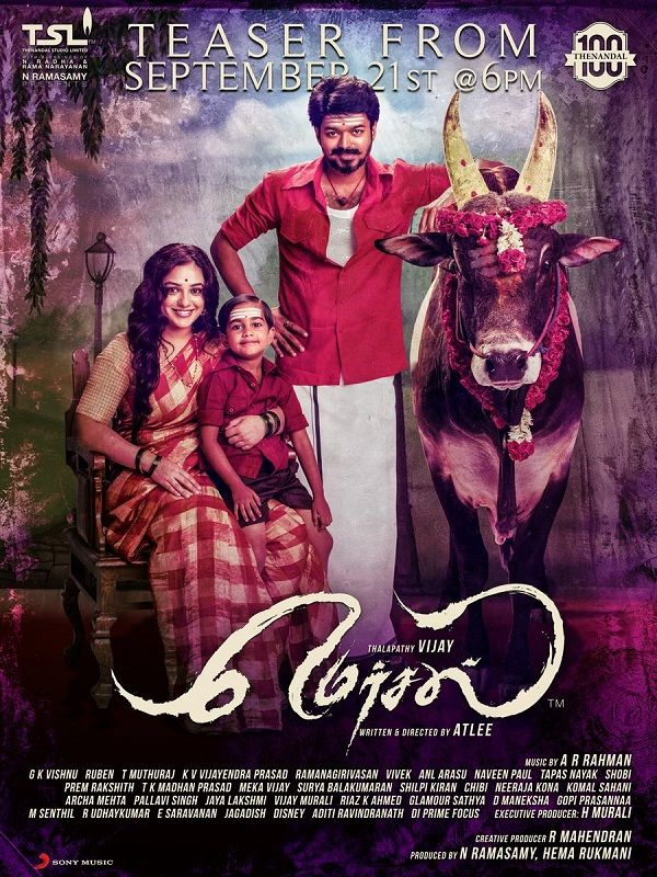 Mersal's new poster starring Thalapathy Vijay and Nithya Menen is the perfect build up to the teaser tomorrow #FansnStars