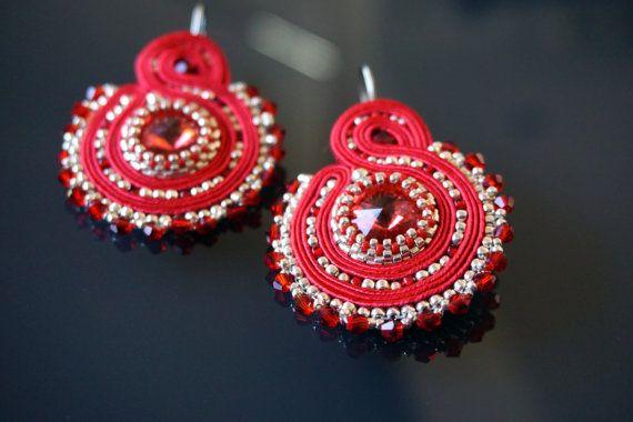 Beautiful Soutache Christmas Earrings with Swarovski by Anharia