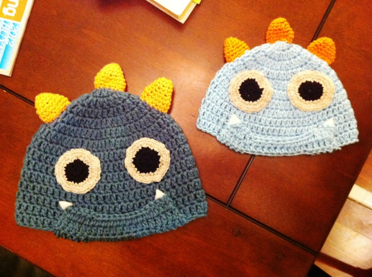 matching mom/dad and kid monster hats