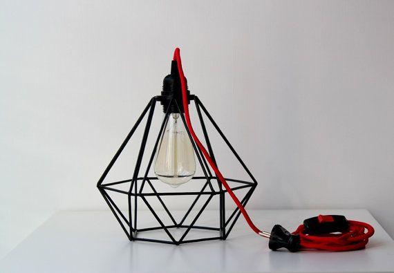 Metal shade lamp Industrial lighting metal cage by BigTreeWorkshop  #Lighting, #LampShades, #Lamps, #Blackmetalshade, #Steampuncklamp, #IndustrialLamp, #Loftdecor, #Loftlamp, #blackmetalshade, #minimalistlighting, #modernhomedecor, #wirecage, #DiamondCagelamp, #metalcagelamp, #pendantlamp