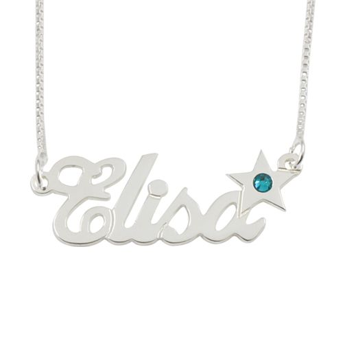 13055 - Sterling Silver Name Necklace With Star Birthstone - $39.40
