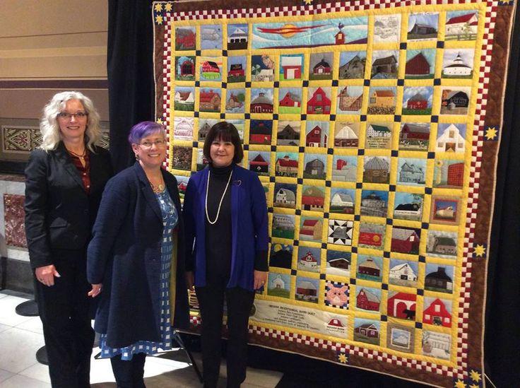 Carolyn Rahe, Joy Williams, and Karen Pence with Indiana Bicentennial Barn Quilt