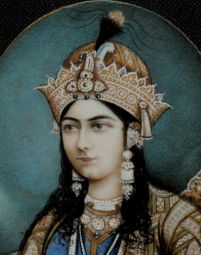 "A portrait of Akbar's wife Jodha bai-but is it?   Apparently there was not any historical character called Jodha bai. Yet there is mention of a Mariam-uz-Zamani the wife of Akbar and the mother of his much awaited heir Salim, this rajpur queen was known in Mughal history as Mariam-uz-zamani meaning ""compassionate to the world"" she was so named by Akbar on the eve of the birth of his son and heir Salim later known as Jhangir."