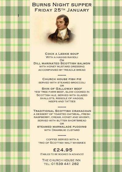 Menu For Burns Night Supper In 2019 Burns Supper